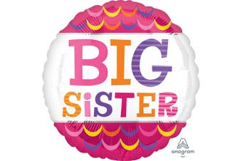 Anagram 18 Inch Big Sister Scallops Circle Foil Balloon (Pink/White) (One Size)