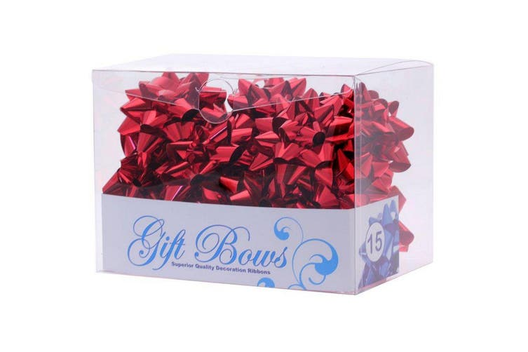 Apac Metallic Galaxy Gift Bows - 15 Pack (Red) (One Size)