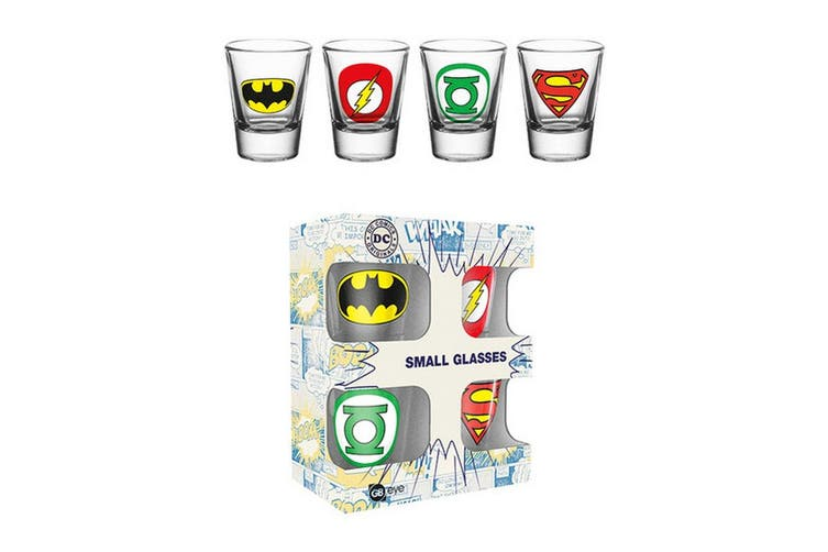 DC Comics Official Logos Shot Glasses Pack Of 4 (Multicoloured) (One Size)
