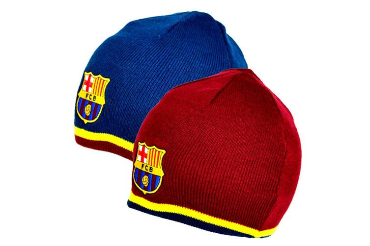 FC Barcelona Reversible Knitted Hat (Blue/Red) (One Size)