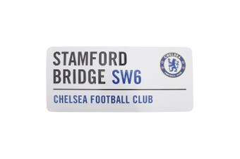 Chelsea FC Official Stamford Bridge Metal Football Club Street Sign (White/Black/Blue) (One Size)