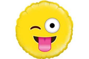 Oaktree Betallic 18 Inch Foil Crazy Emoji  Balloon (Yellow) (18 Inches)