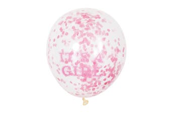 Unique Party Clear 12 Inch Its A Girl Confetti Balloons (Pack of 6) (Pink) (12 inches)