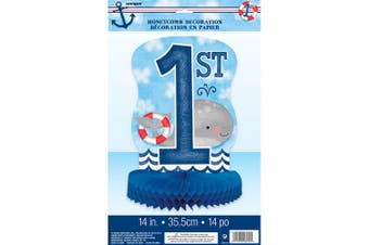 Unique Party Nautical 1st Birthday Honeycomb Centrepiece (Multicolour) (14 inches)