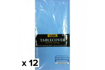Amscan Rectangular Plastic Tablecover (Pack Of 12) (Pastel Blue) (137cm x 274cm)