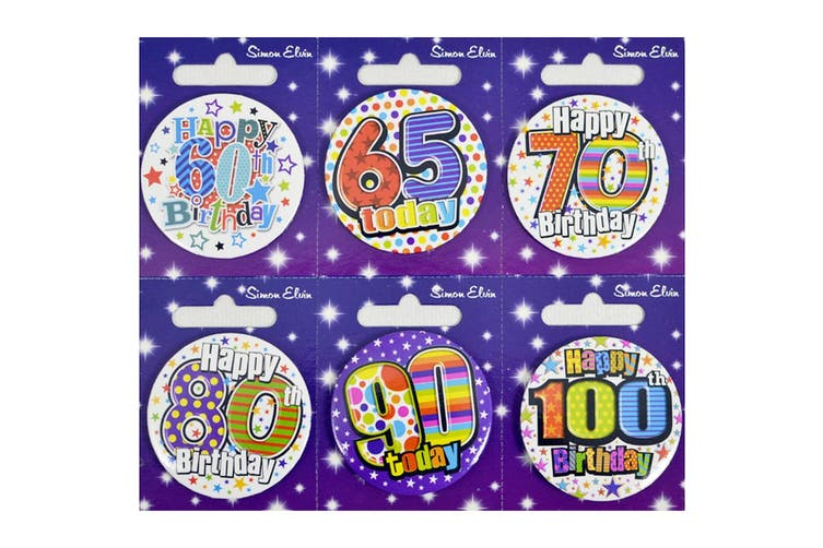 Simon Elvin Small Happy Birthday Badges (Pack of 6) (Age 60, 65, 70, 80, 90, 100) (6 badges)