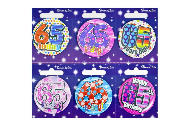 Simon Elvin Small Happy Birthday Badges (Pack of 6) (Age 65) (6 badges)