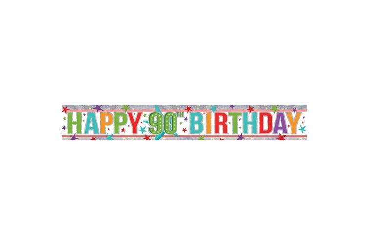 Amscan Old Age Happy Birthday Multicoloured Holographic Foil Banner (Age 90) (W2.7m)