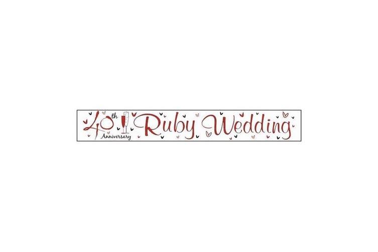 Simon Elvin Ruby Wedding Anniversary Foil Banner (6 Pack) (White/Red/Black) (2.5m)
