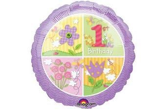 Anagram 18in 1st Birthday Circle Foil Balloon (Purple/Muliticoloured) (18in)