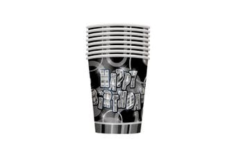 Unique Party 8 Happy Birthday Party Cups (Black/Silver) (9oz)
