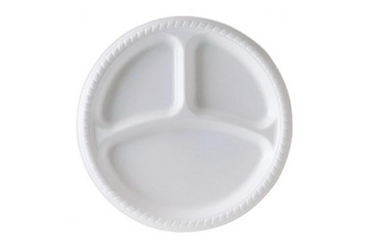UDL 50 Premium Divided Plastic Plates (White) (9in)