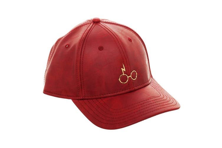 Harry Potter Metal PU Leather Cap (Maroon) (One Size)