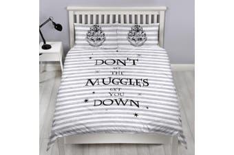 Harry Potter Dont Let The Muggles Get You Down Reversible Duvet Set (Black/White/Grey) (Single)