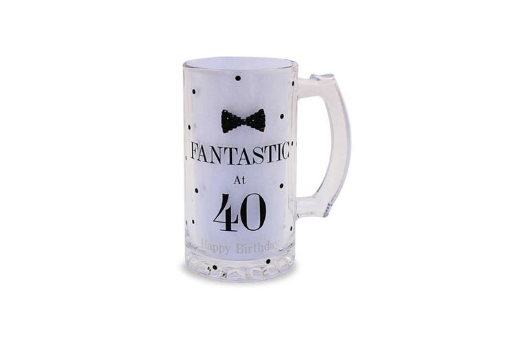Lesser Pavey Mad Dots Birthday Beer Tankard (Fantastic At 40) (One Size)