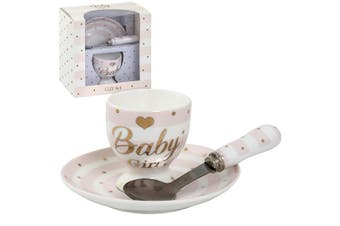 Lesser Pavey Mad Dots Baby Egg Cup/Plate Gift Set (Baby Girl Pink) (One Size)