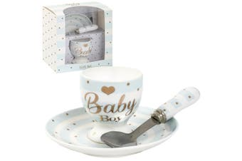 Lesser Pavey Mad Dots Baby Egg Cup/Plate Gift Set (Baby Boy Blue) (One Size)