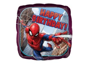 Spider-Man 18in Square Birthday Foil Balloon (Purple) (One Size)