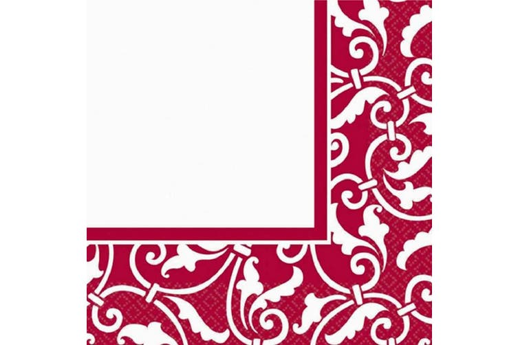 Amscan 2 Ply Patterned Luncheon Napkins (Pack Of 16) (Red) (33 x 33cm)
