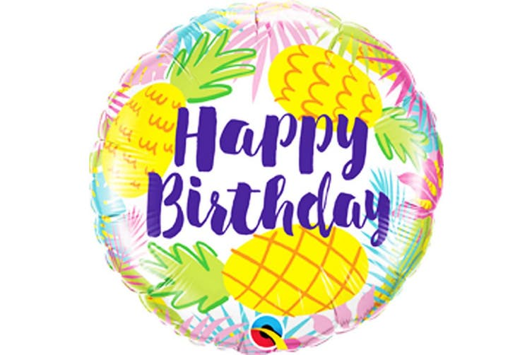 Qualatex 18in Birthday Pineapples Foil Balloon (Multicoloured) (One Size)