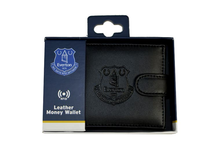 Everton FC Mens Official RFID Embossed Leather Wallet (Black) (One Size)