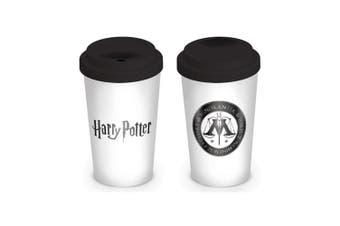 Harry Potter Ministry of Magic Ceramic Travel Mug (White/Black) (One Size)