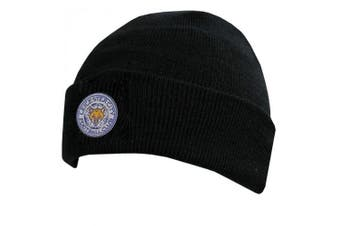 Leicester City FC Official Cuff Knitted Hat (Black) (One Size)