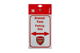 Arsenal FC Official No Parking Metal Sign (White/Red) (One Size)