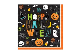 Amscan Halloween Friends Beverage Napkins (Pack Of 6) (Multicoloured) (33cm)
