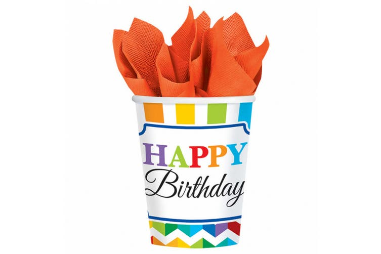 Amscan Happy Birthday 9oz Party Cups (Pack Of 8) (Multicoloured) (9oz)