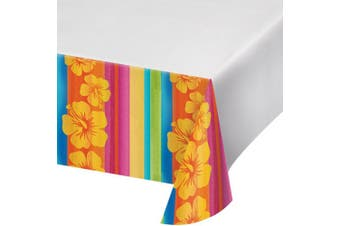 Creative Converting 108in Aloha Summer Printed Plastic Tablecover (White/Multicoloured) (108 x 54in)
