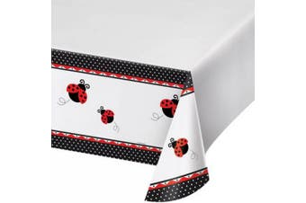 Creative Converting 108in Ladybird Printed Plastic Tablecover (White/Red/Black) (108 x 54in)