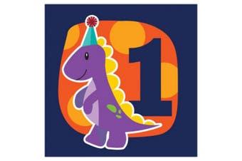 Creative Converting Little Dino 1st Birthday 3 Ply Napkins (Pack Of 16) (Dark Blue/Orange/Purple) (33 x 33cm)