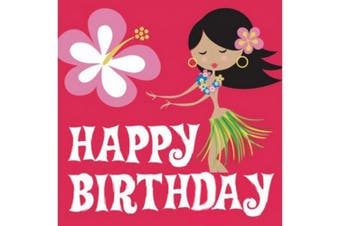 Creative Converting Hula Birthday 2 Ply Napkins (Pack Of 16) (Pink/Multicoloured) (33 x 33cm)
