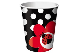 Creative Converting 9oz Ladybird Party Cups (Pack Of 8) (Black/White/Red) (9oz)