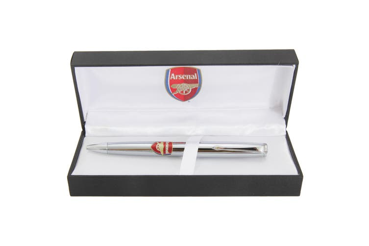 Arsenal FC Official Chrome Football Crest Ball Point Pen (Black/Silver/Red) (One Size)