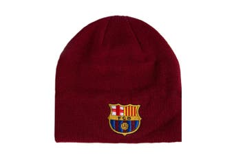 FC Barcelona Beanie Knitted Hat (Burgundy) (One Size)