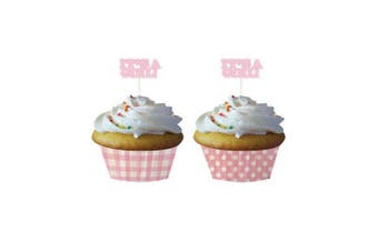 Creative Converting Baking Cups With Picks (Pack of 12) (Its A Girl) (One Size)
