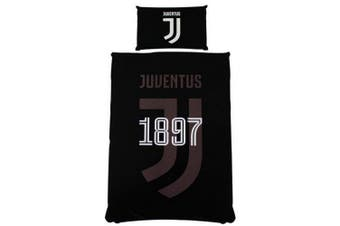 Juventus FC Reversible Mono Single Duvet Set (Black) (One Size)