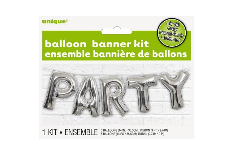 Unique Party Party Foil Balloon Banner Kit (Silver) (One Size)