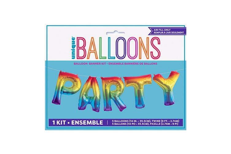 Unique Party Party Foil Balloon Banner Kit (Rainbow) (One Size)