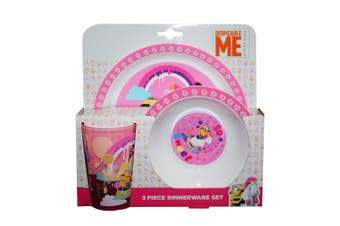 Despicable Me Childrens/Kids So Sweet Unicorn 3 Piece Dinner Set (Pink/White) (One Size)