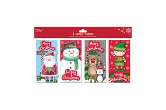 North Pole Christmas Money Wallets (Pack of 4) (Red) (One Size)