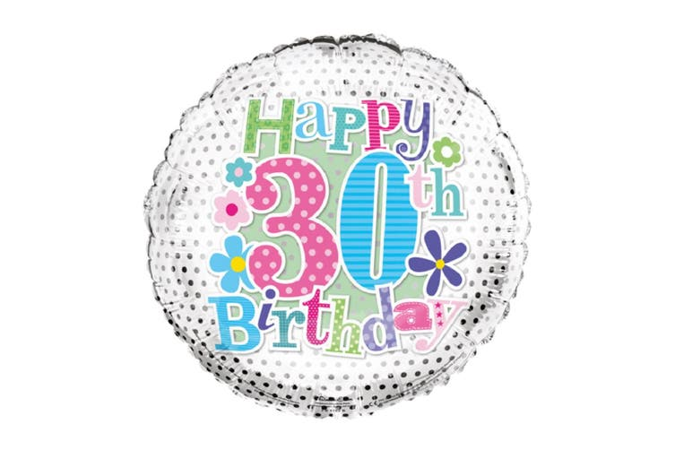Simon Elvin Foil Balloon with 30th Birthday Design (Silver) (One Size)