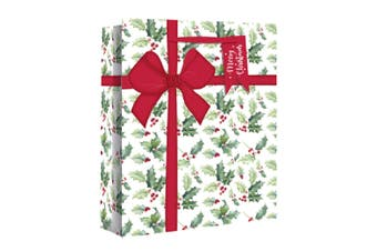 Eurowrap Wide Gusset Christmas Gift Bags with Holly Parcel Design (Pack of 12) (White) (M)