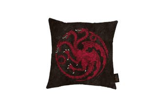 Game of Thrones Canvas Cushion with Targaryen Design (Black/Red) (One Size)