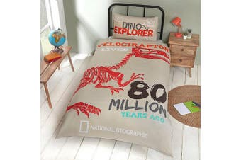National Geographic Raptor Fossils Reversible Duvet Set (Grey) (Single)