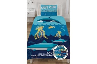 National Geographic Ocean Life Facts Reversible Duvet Set (Blue) (Single)