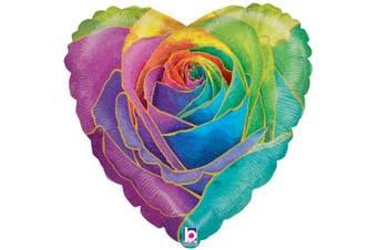 Betallic Holographic Rose Heart Foil Balloon (Rainbow) (One Size)