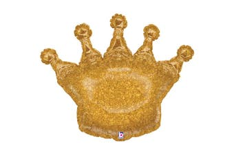 Betallic Glittering Crown Shaped Foil Balloon (Gold) (One Size)